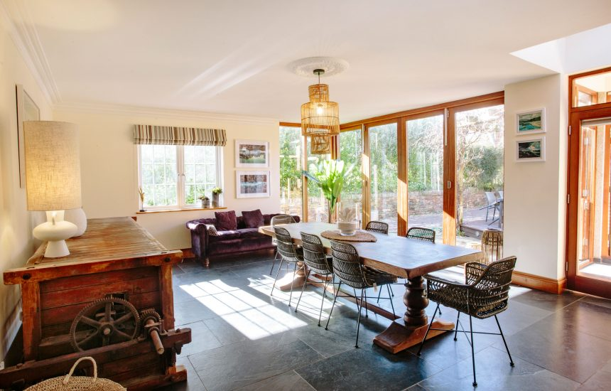 Dining room at Kernow House, a self-catering holiday home in Rock, North Cornwall