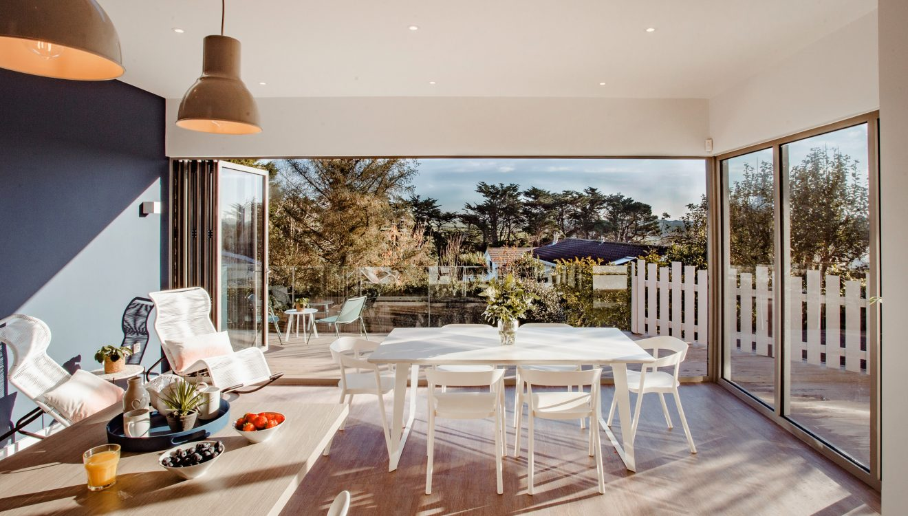 Social spaces at Lowena, a self-catering holiday home in Polzeath, North Cornwall