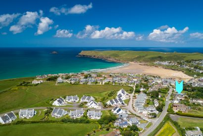 Aerial view showing the location of Lowena, a self-catering holiday home in Polzeath, North Cornwall