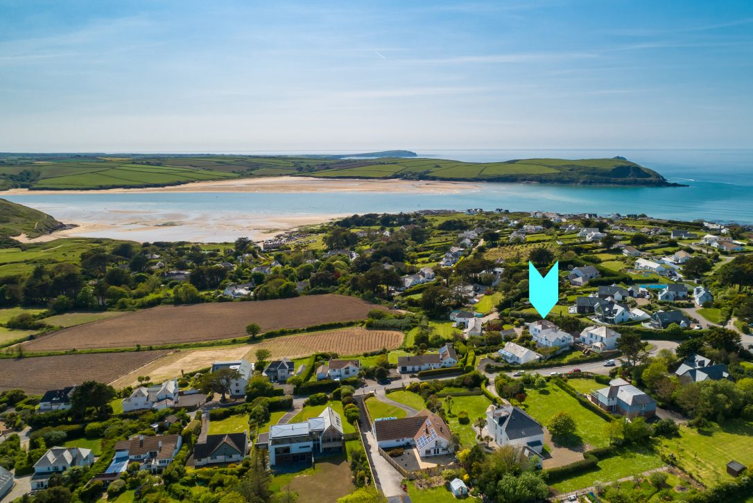 Aerial view of Lower Farm, a self-catering holiday home in Daymer Bay, North Cornwall