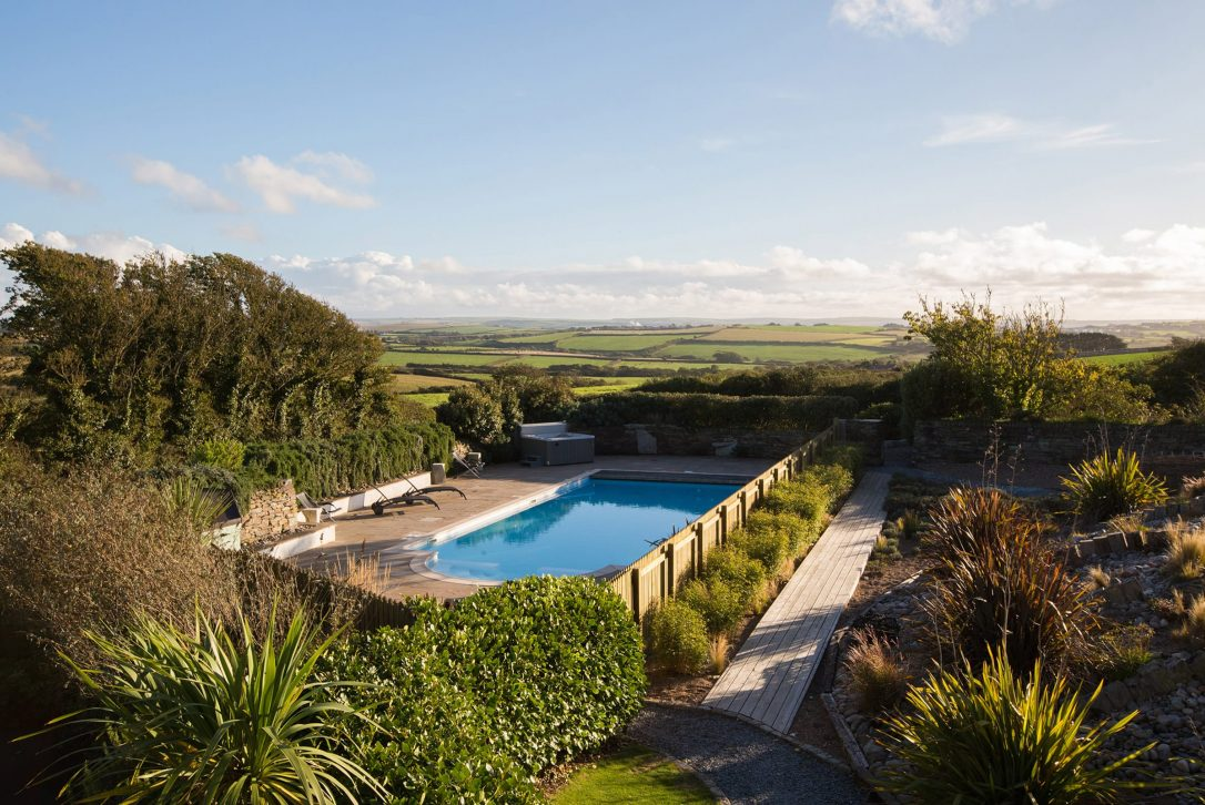 Swimming pool at The Barn, a self-catering holiday home near Polzeath, North Cornwall