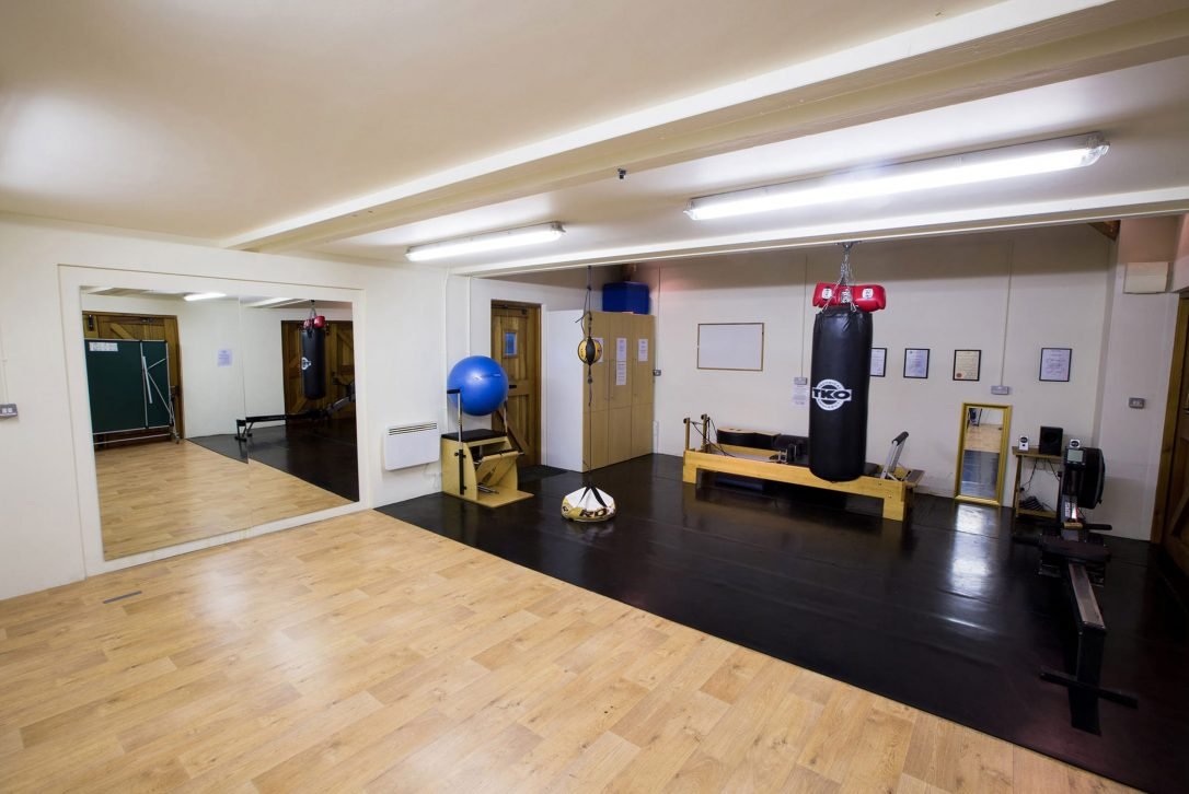 The gym at Mesmear Farmhouse a self-catering holiday home in Polzeath, North Cornwall