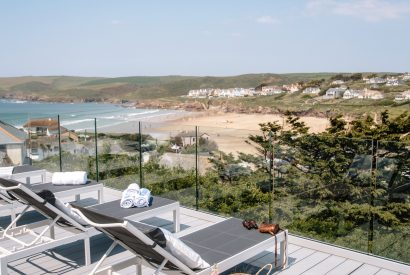 View from the balcony at Parker's Place a self-catering holiday proeprty in Polzeath, North Cornwall