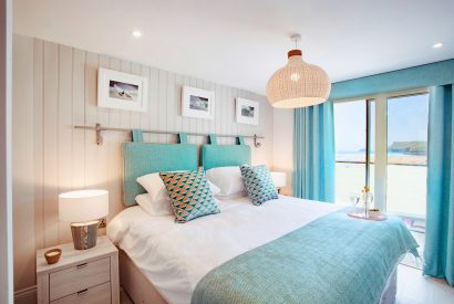 Bedroom at Polsted, a luxury, self-catering holiday home in Polzeath, North Cornwall