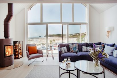 Living room at Polsted, a luxury, self-catering holiday home in Polzeath, North Cornwall