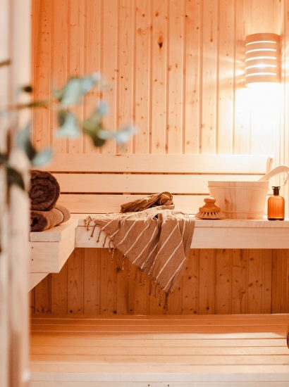 Sauna at Polsted, a luxury, self-catering holiday home in Polzeath, North Cornwall