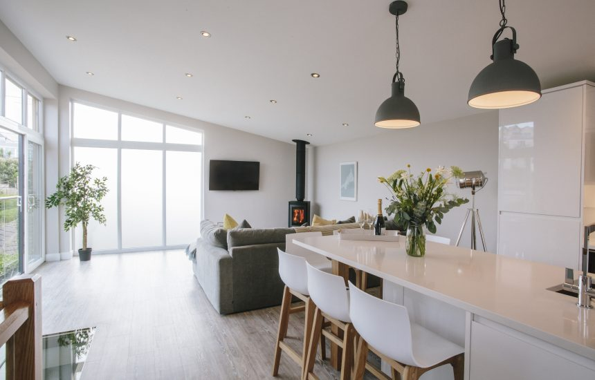 Open plan living space at Seabreeze, a self-catering holiday cottage in Polzeath, North Cornwall