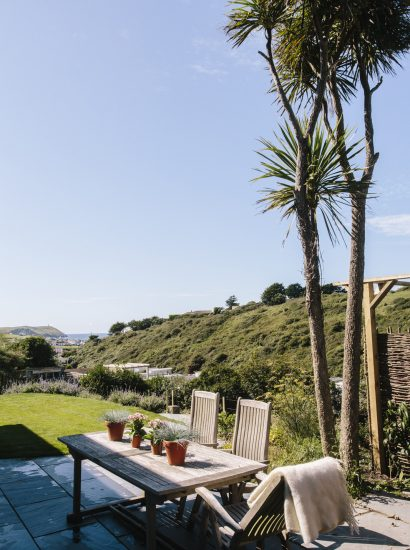 View across the valley from Seahouse, a self-catering holiday home near Polzeath Beach, North Cornwall