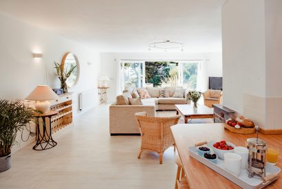 Living area at Skylarks, a self-catering holiday home above Daymer Bay, North Cornwall