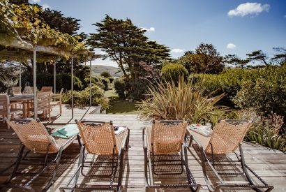 Sun deck at Skylarks, a self-catering holiday home above Daymer Bay, North Cornwall