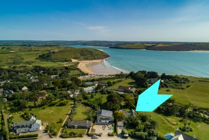 Aerial view of Skylarks, a self-catering holiday home above Daymer Bay, North Cornwall