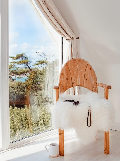 Bedroom chair at Skylarks, a self-catering holiday home above Daymer Bay, North Cornwall