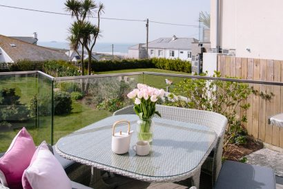 Sun deck at Spindrift, a self-catering holiday home in Polzeath, North Cornwall