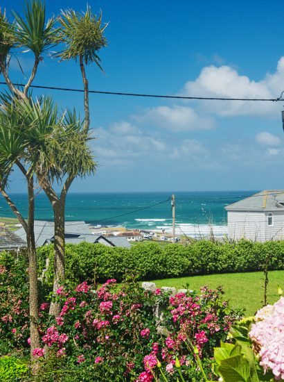 Garden at Spindrift, a self-catering holiday home in Polzeath, North Cornwall
