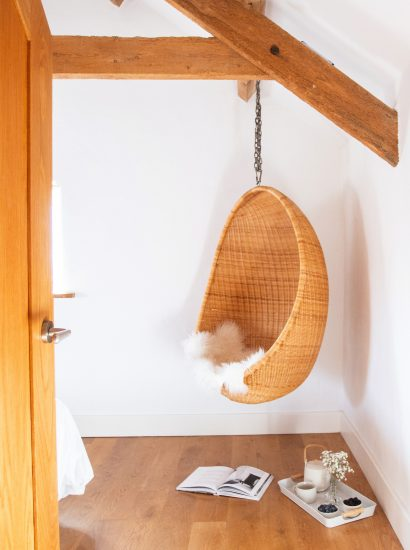 Hanging chair at The Barn, a self-catering holiday home near Polzeath, North Cornwall