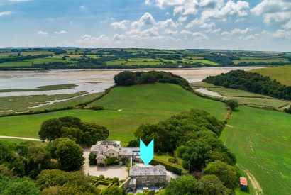 Aerial view of The Coach House, a self-catering holiday home near Rock, North Cornwall