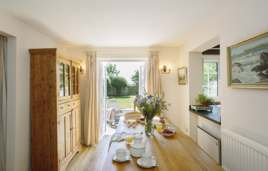 Dining room at The Crispin, a self-catering holiday home in Rock, North Cornwall