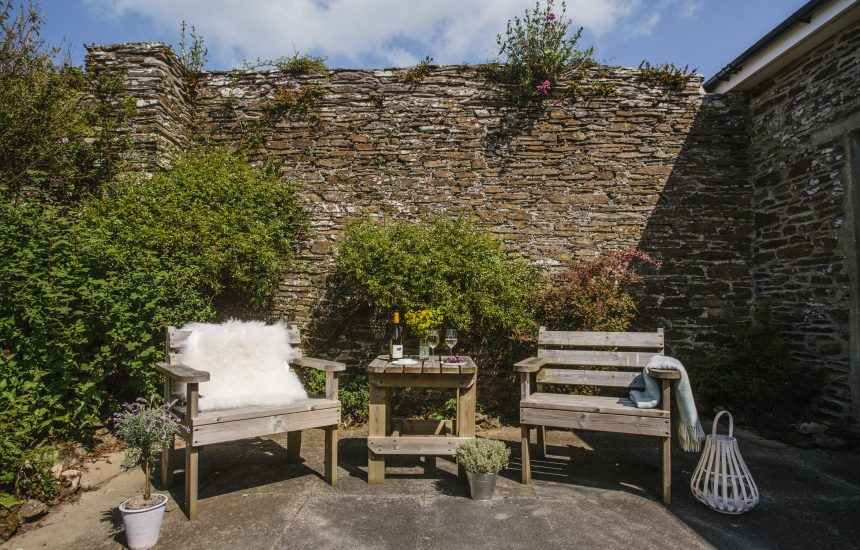 Courtyard at The Linhaye, a self-catering holiday cottage in Port Isaac, North Cornwall