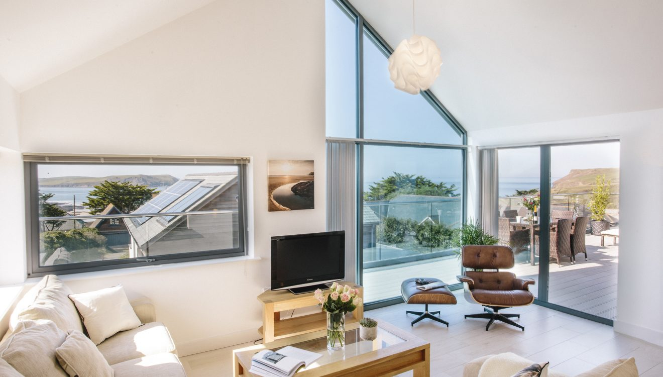 Living spaces in The Penthouse, a luxury apartment in New Polzeath, North Cornwall