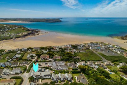 Aerial view of The Penthouse, a self-catering holiday home in New Polzeath, North Cornwall
