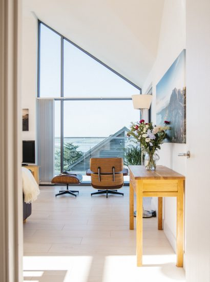 Living space at The Penthouse, a luxury apartment in New Polzeath, North Cornwall