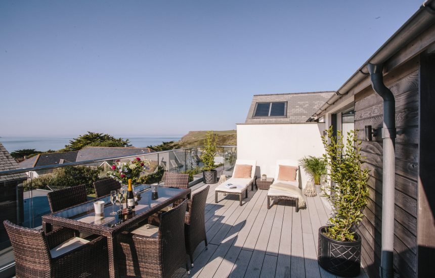 Balcony at The Penthouse, a luxury apartment in New Polzeath, North Cornwall