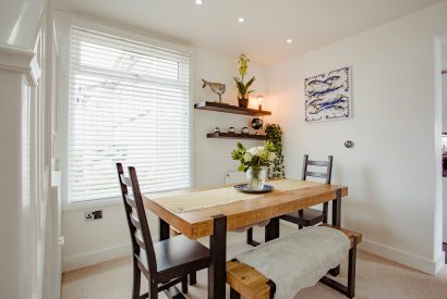 Dining room at The Port House, a self-catering holiday home in Port Isaac, North Cornwall