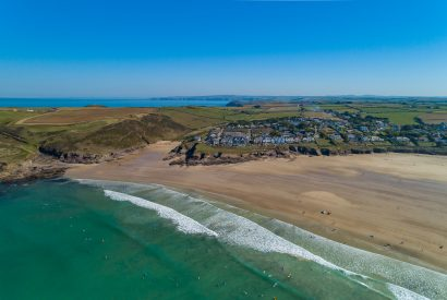 Aerial view of Polzeath beach