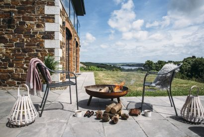 Patio at The Woodshed, a self-catering holiday home near Rock, North Cornwall