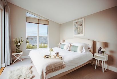 Master bedroom at Tregarthen, a self-catering holiday home in New Polzeath, North Cornwall