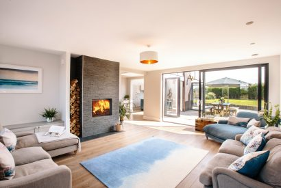 Living room at Tregarthen, a self-catering holiday home in New Polzeath, North Cornwall