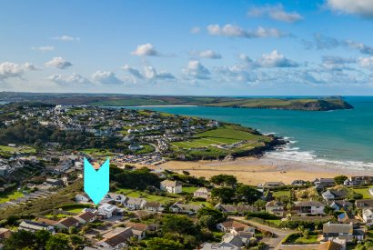Aerial view of Tregarthen, a self-catering holiday home in New Polzeath, North Cornwall