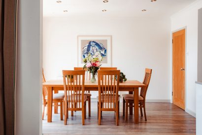 Dining room at Trethwaite, a self-catering holiday home above Porthilly Beach, Rock, North Cornwall