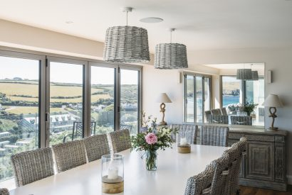 Dining room at Weaver's View, a self-catering holiday cottage in Polzeath, North Cornwall
