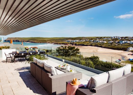 View from the balcony at Weaver's View, a self-catering holiday home in Polzeath, North Cornwall