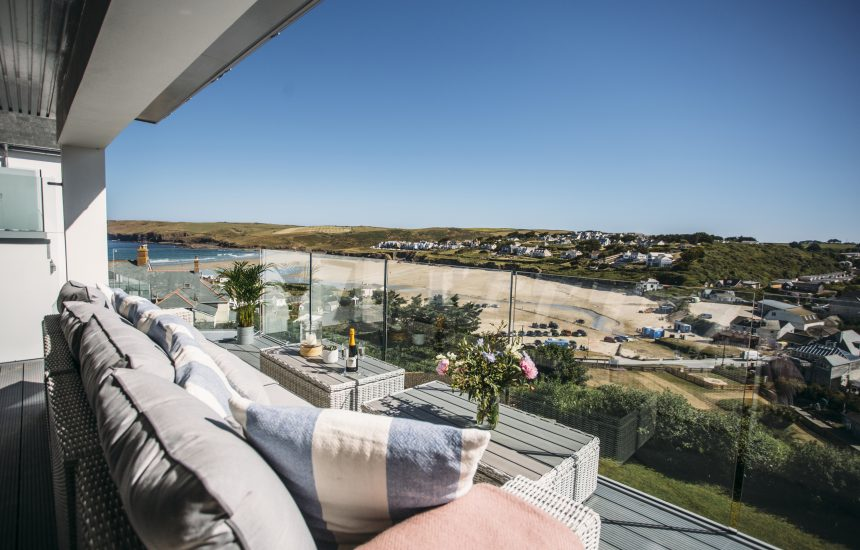 View from balcony at Weaver's View, a self-catering holiday home in Polzeath, North Cornwall