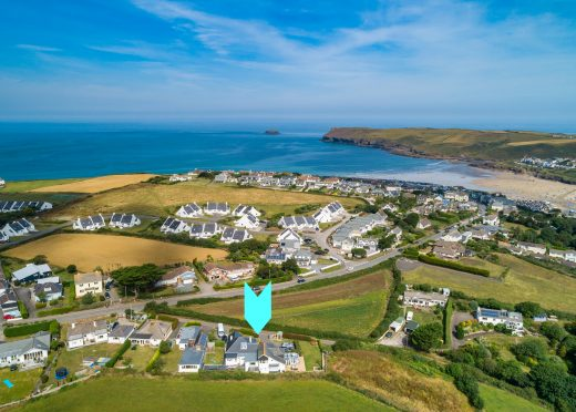 Aerial view of Upper and Lower Pen-y-Bryn, self-catering holiday home for groups near Polzeath and Daymer Bay