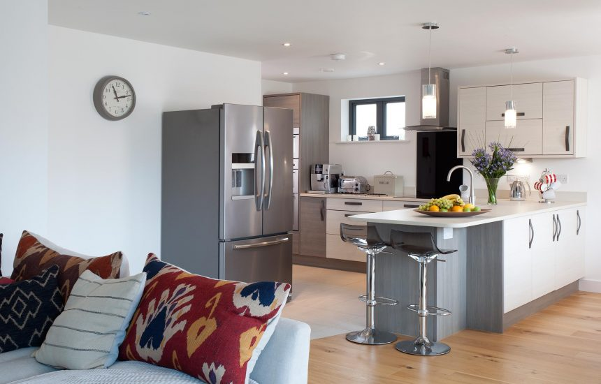 Open plan living space at Clifden, a self-catering holiday home in Polzeath, North Cornwall