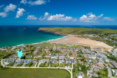 Aerial view of Compit, a self-catering holiday home in Polzeath, North Cornwall