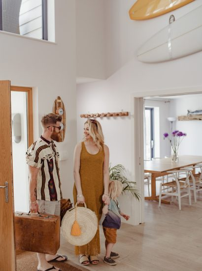 Entrance hall at Compit, a self-catering holiday home in Polzeath, North Cornwall