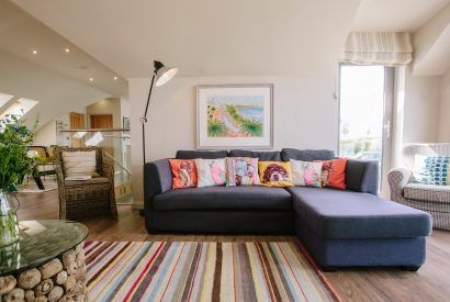 Sofa at Cothelstone, a self-catering holiday cottage in Polzeath, North Cornwall
