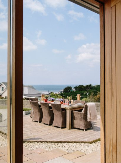 View from the front door at Cothelstone, a self-catering holiday home in Polzeath, North Cornwall