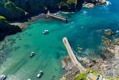 Aerial view of Port Isaac harbour, North Cornwall