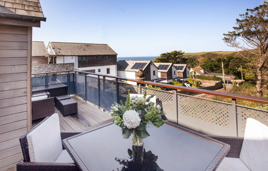 Balcony at Endymion, a self-catering holiday home in New Polzeath, North Cornwall