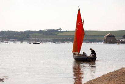 Sail boat at Porthilly Cove, Rock, North Cornwall