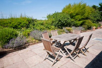 Patio at Maidenover, a self-catering holiday home in Rock, North Cornwall