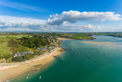 Aerial view of the Camel Estuary and Rock