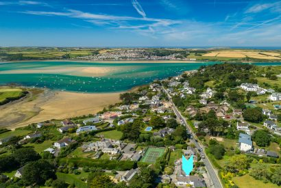 Aerial view of Padilly, a self-catering holiday home in Rock, North Cornwall