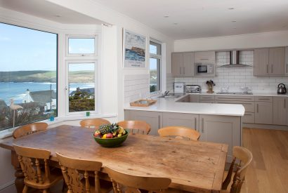 Dining table at Penroy, a self-catering holiday home in Polzeath, North Cornwall
