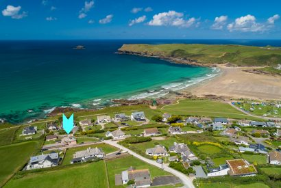 Aerial view of Penroy, a self-catering holiday home in Polzeath, North Cornwall